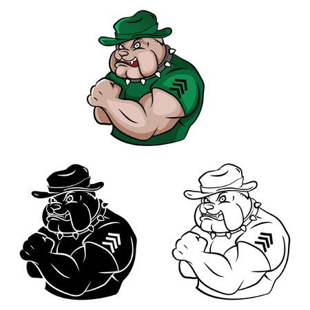 army face: Coloring book Bulldog Security cartoon character