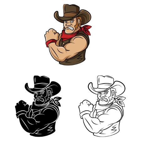 vaquero: Libro para colorear Vaquero personaje de dibujos animados - ilustraci�n vectorial Vectores