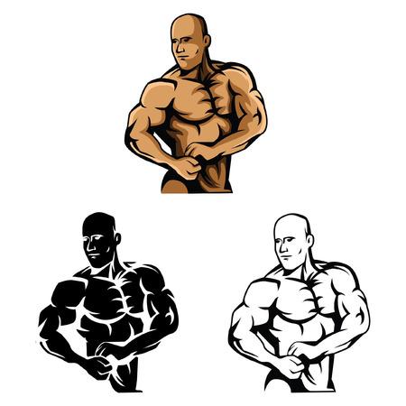builder cartoon: Coloring book Body Builder cartoon character - vector illustration