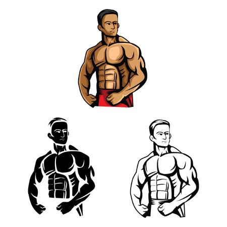 Livre à colorier Body Builder de personnage de dessin animé - illustration vectorielle