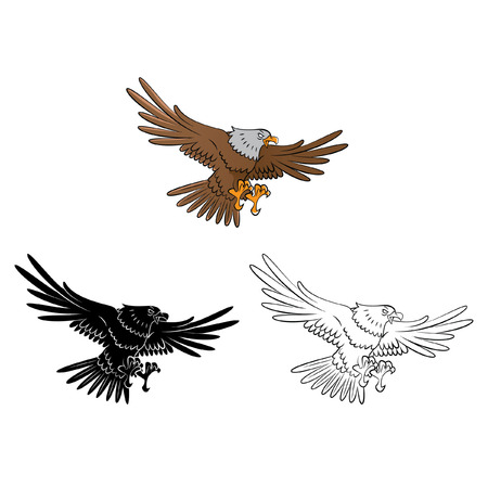 Coloring book Eagle cartoon character - vector illustration Vector