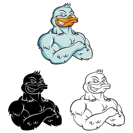 Coloring book Duck Strong cartoon character