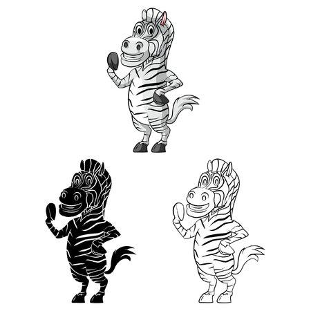 Coloring book Zebra Smile cartoon character - vector illustration Vector