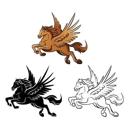 Livre à colorier Ailes chevaux personnage de dessin animé Banque d'images - 37581088