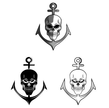 Coloring book Skull Anchor cartoon character Vector