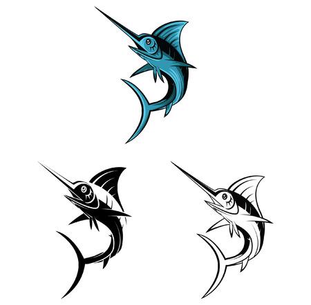 blue marlin: Coloring book Marlin fish cartoon character