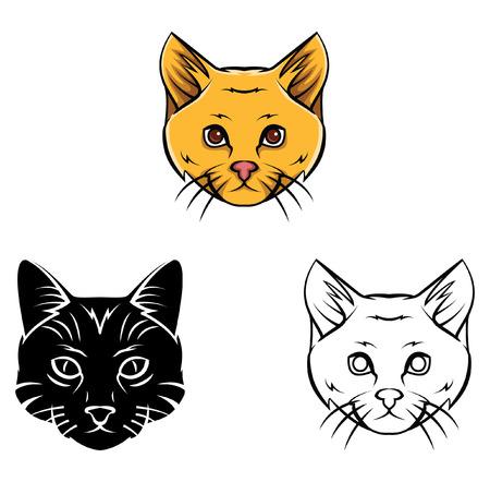 Coloring Book Cat Head Cartoon Character Stock Vector