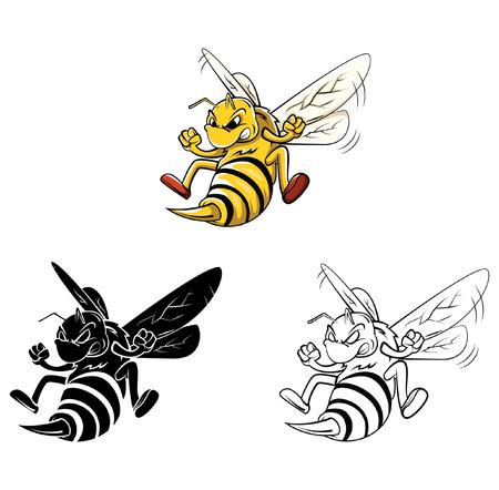 abeja caricatura: Libro para colorear dibujos animados Bee Vectores