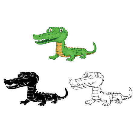 Coloring book Crocodile cartoon character Vector