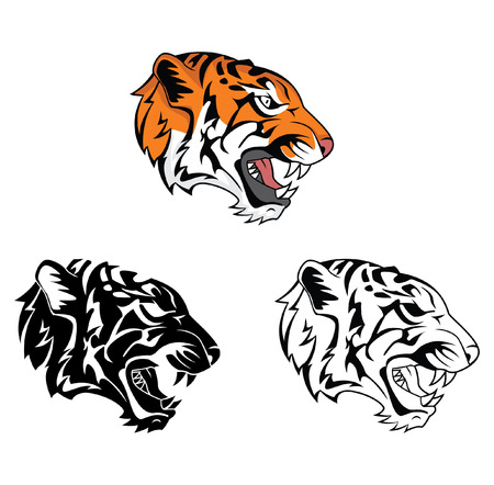 Coloring book tiger roar cartoon character