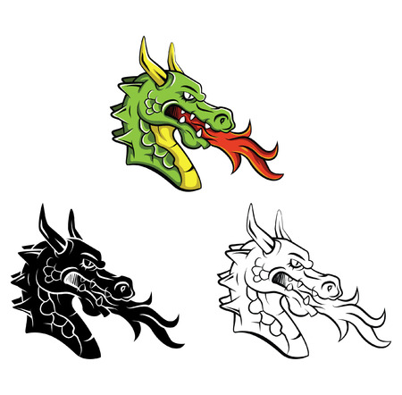 dragon illustration: Coloring book Dragon Head cartoon character Illustration