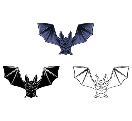 bat animal: Coloring book Bat Tattoo cartoon character