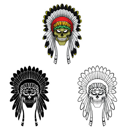 Coloring book apache head cartoon character Vector