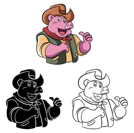 Libro Para Colorear Vaquero Personaje De Dibujos Animados ...