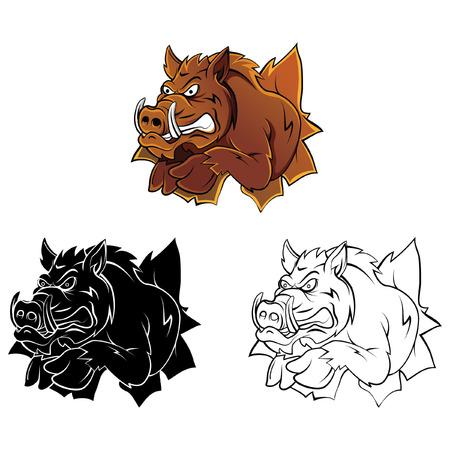 Wildschwein: Malbuch Wildschwein Kopf Zeichentrickfigur Illustration