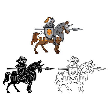 joust: Coloring book Knight Rider cartoon character