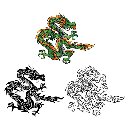 tattoo traditional: Coloring book Dragon Vector cartoon character