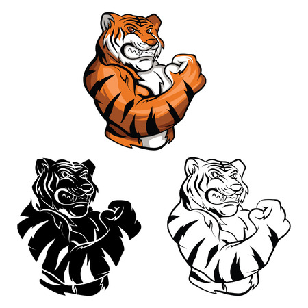 tigre caricatura: Libro para colorear la mascota del tigre personaje de dibujos animados