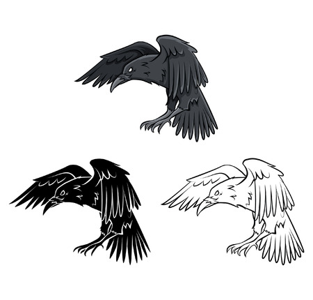 Coloring book Raven cartoon character Vector