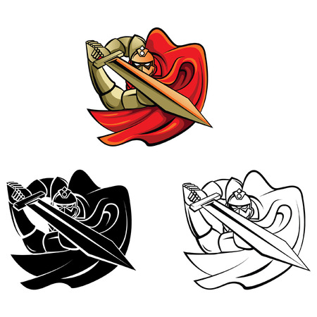 Coloring book Knight Warrior cartoon character Vector