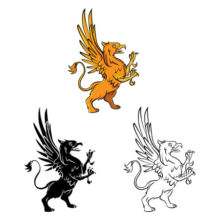 Coloring book Griffin cartoon character Vector