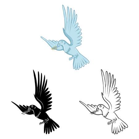 paloma caricatura: Libro para colorear dibujos animados Dove Vectores