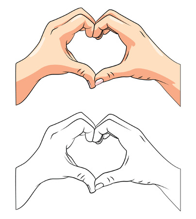hard love: Coloring book Love Hand cartoon character