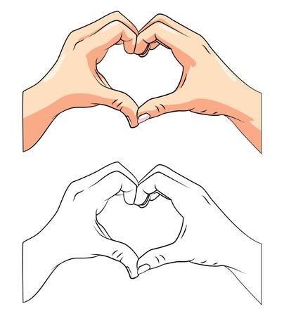 paloma caricatura: Libro para colorear dibujos animados Amor Mano Vectores