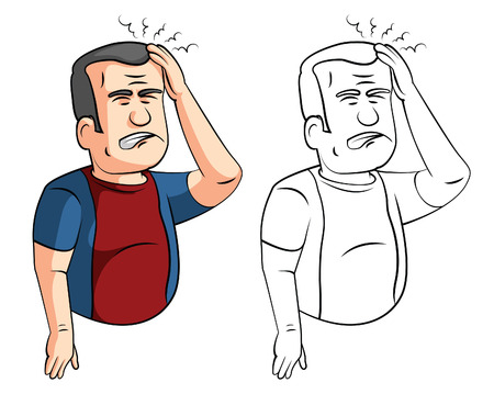 disorganized: Coloring book headaches man cartoon character Illustration