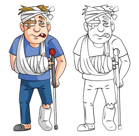 herido: Libro para colorear hombre accidente personaje de dibujos animados