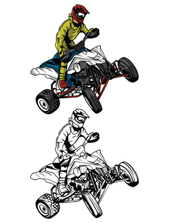 Coloring book ATV moto rider cartoon character Illustration