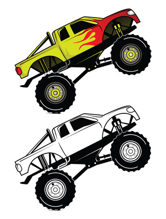 Coloring book Truck Race cartoon character Vector