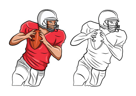 Coloring book FootBall American cartoon character Vector