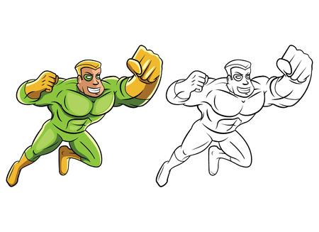 Coloring book Green Super Hero cartoon character Vector