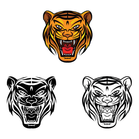 tigre caricatura: Libro para colorear dibujos animados tigre