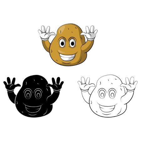 aliments droles: personnage de dessin anim� de sourire livre de pommes de terre de Coloriage Illustration