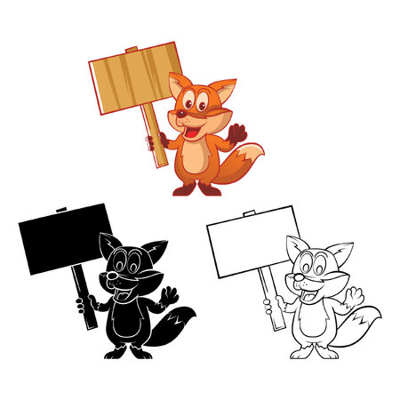 Coloring book Funny Fox cartoon character Vector