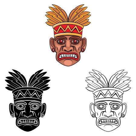 polynesian ethnicity: Coloring book Hawaii Mask cartoon character