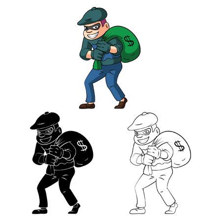 burglar: Coloring book Thief cartoon character Illustration