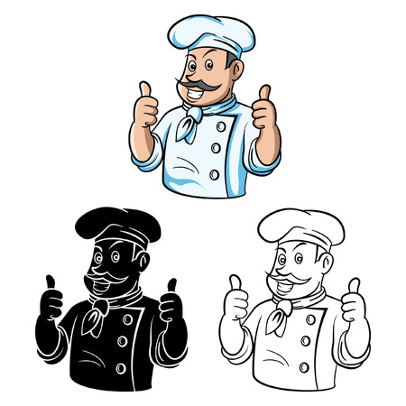 books clipart: Coloring book Chef Thumb Up cartoon character