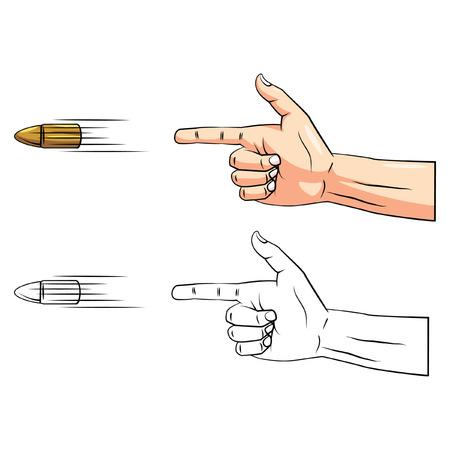 Coloring book Gun Hand cartoon character 일러스트