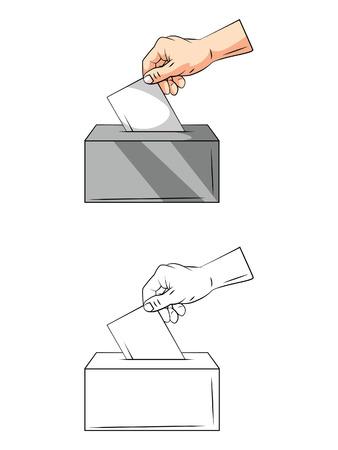 voter registration: Coloring book Vote Hand cartoon character Illustration
