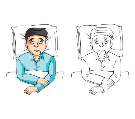 ill: Coloring book Sick Man cartoon characte Illustration
