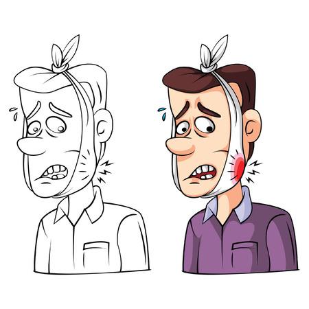 dolor de muela: Colorear libro de muelas personaje de dibujos animados Enfermo Vectores