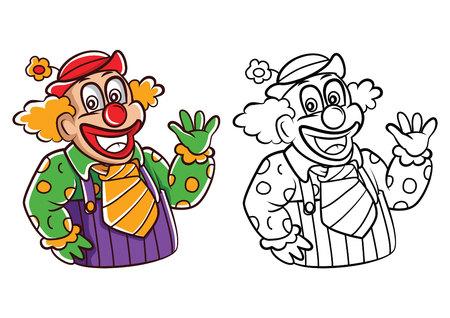 clown cirque: personnage de dessin anim� clown livre de coloriage