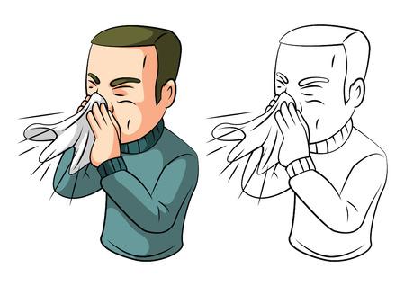 cough: Coloring book sneezing man cartoon character