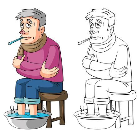 fiebre: Libro para colorear Fiebre anciano personaje de dibujos animados