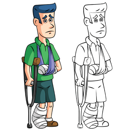 Coloring book accident insurance cartoon character Vector