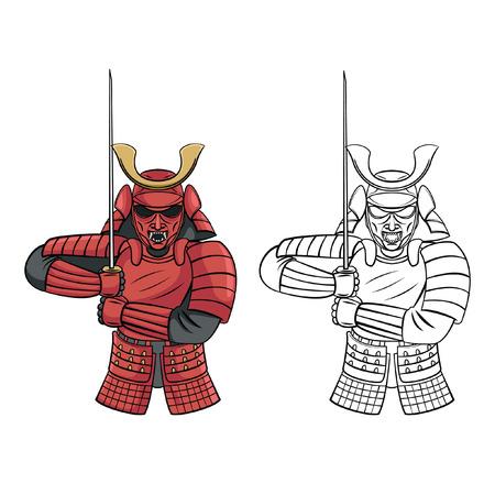 guerrero samurai: Libro para colorear Samurai Warrior personaje de dibujos animados Vectores
