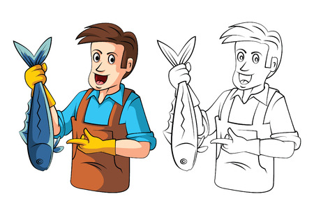Coloring book Fish sellers cartoon character